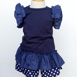 裾とお袖が布帛フリルのノースリーブチュニック(ネイビー)/HOWDY DOODYS