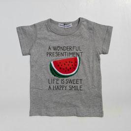 スイカのサガラ刺繍の半袖Tシャツ