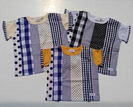 ドット&ストライプ布帛パッチワークの半袖Tシャツ/BLUEU AZUR