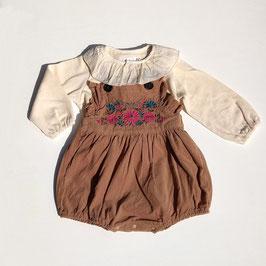 フラワー刺繍のバルーンサロペット/Stella