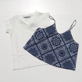 バンダナ柄キャミソール+半袖Tシャツの2枚セット
