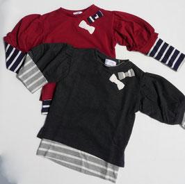 リボン付6分袖トレーナーとボーダーTシャツの2枚セット/WILL MERY