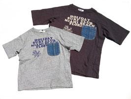 デニムポケット付きサーフバードの半袖Tシャツ/F.O.U