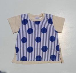 ドット&ストライプ柄の半袖Tシャツ/BLUEU AZUR