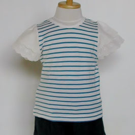 ブルーのストライプ+レース使いの半袖Tシャツ