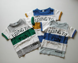 ロゴ&3色切り替えの半袖Tシャツ/Jeans-b