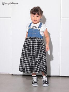 リメイク風デニムxチェックのサロペスカート/G.B