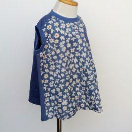 スレートブルー小花柄のノースリーブチュニック/Little s.t by s.t closet