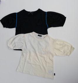 三日月ポケット付バルーン袖のTシャツ(6分袖)/Caldia