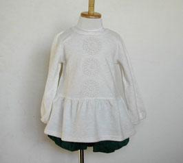 編みモチーフ付き起毛素材のチュニック