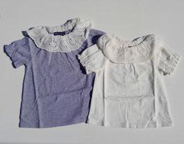 レースのラウンド衿のTシャツ/Little s.t by s.t closet