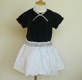 ピンドットふんわりスカートの紺白ドッキングワンピースdolcina(ドルチーナ)