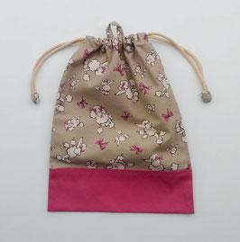 シリーズ23のお着替え袋(リボンプードル)-ベージュ系