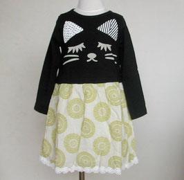 ネコさんのドッキングワンピース(ブラック)/Winpie