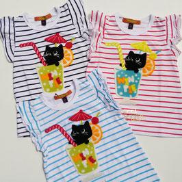 黒猫+ソーダ刺繍のボーダーTシャツ
