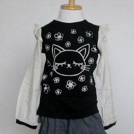 お袖が布帛のネコさんTシャツ(ブラック)/Winpie