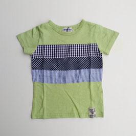 胸に3柄パッチワークの半袖Tシャツ/SUCRE-blanc