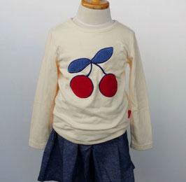 さくらんぼサガラ刺繍のTシャツ/moujonjon