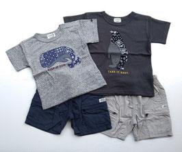 バンダナクジラとペンギンの半袖Tシャツ/F.O.