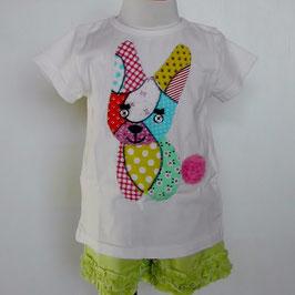 パッチワークうさぎの半袖Tシャツ