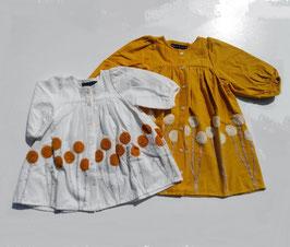 ポンポンフラワー刺繍のワンピース/Little s.t by s.t closet