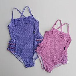 胸リボン付格子柄の水着/Caldia