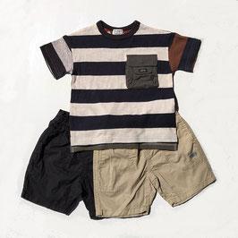 布帛ポケット付ボーダーのビッグシルエット半袖Tシャツ/F.O