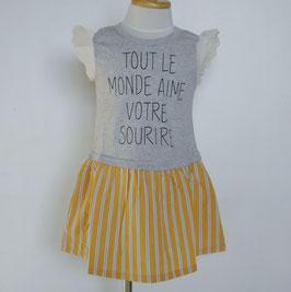 黄色ストライプのスカート付ノースリーブワンピース
