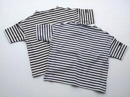 ボーダーのドロップショルダー半袖Tシャツ/F.O.U