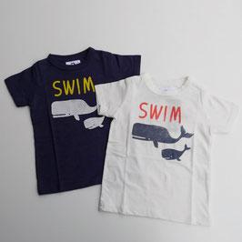 SWIMロゴ&親子クジラの半袖Tシャツ/Jeans-b 2nd