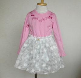 ちょうちょとチュールのドッキングワンピース(ピンク)/Winpie