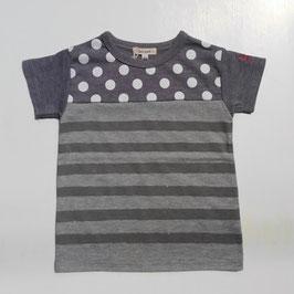 ドット&ボーダー切り替えの半袖Tシャツ(杢グレー)/Seraph