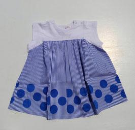ドット&ストライプ布帛使いのドッキングワンピース/BLUEU AZUR