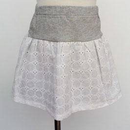 白いコットンレースとグレー天竺のスカート