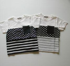 ドット・ボーダー・無地3段切り替えの半袖Tシャツ/nico hrat