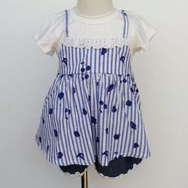 ブルー系ストライプ+フルーツ総柄のレイヤードTシャツ/Seraph