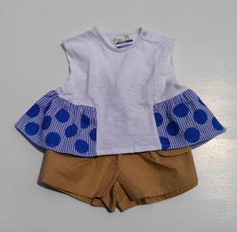 ドット&ギンガムチェック布帛使いのチュニック/BLUEU AZUR