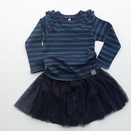 ネイビーxグリーンのボーダーTシャツ/Little s.t by s.t closet