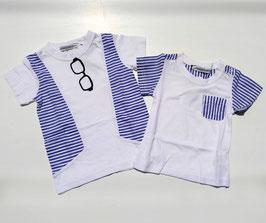 布帛ストライプ切替え半袖Tシャツ/Donkey Jossy