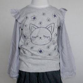 お袖が布帛のネコさんTシャツ(グレー)/Winpie