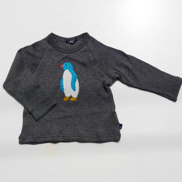 ペンギンのサガラ刺繍の長袖コットンニット/Caldia