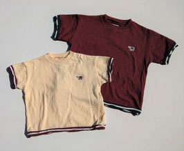 胸にベアーワッペン付き配色ボーダーの半袖Tシャツ/O&G