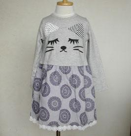 ネコさんのドッキングワンピース(グレー)/Winpie