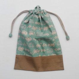 シリーズ24のお着替え袋(単色車柄)-ミント地
