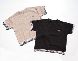 胸にサイワッペン付き配色ボーダーの半袖Tシャツ/O&G