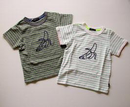 バナナ刺繍とペンシルストライプの半袖Tシャツ/Caldia