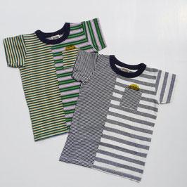 ペンシルボーダー+ピースマークの半袖Tシャツ/F.O.