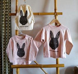 切り絵ウサギの長袖Tシャツ/FOU