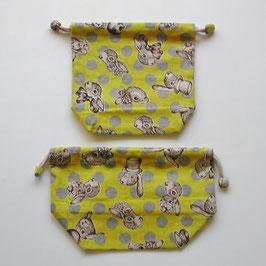 シリーズ1のコップ袋(うさぎドット)*帆布コンビ*