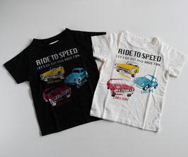 ロゴ&車3台の半袖Tシャツ/Jeans-b 2nd
